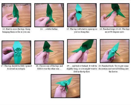 Diagrama de figura de flor en origami