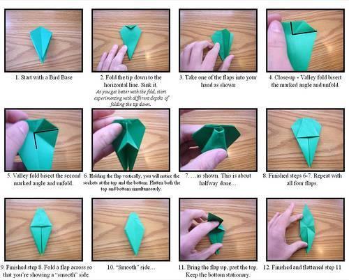 Diagrama de flor de origami