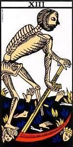 Carta del arcano mayor de la muerte en el Tarot