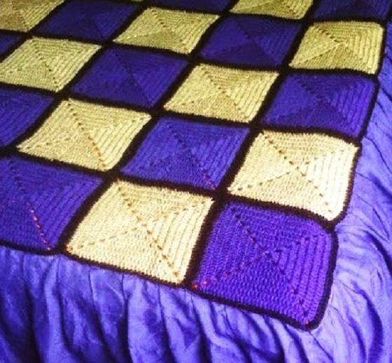 Mantas de crochet a cuadros y otras colchas tejidas con ganchillo - Como hacer mantas de punto ...