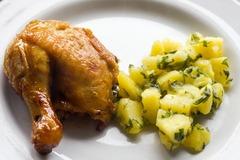 Pollo con papas en microondas